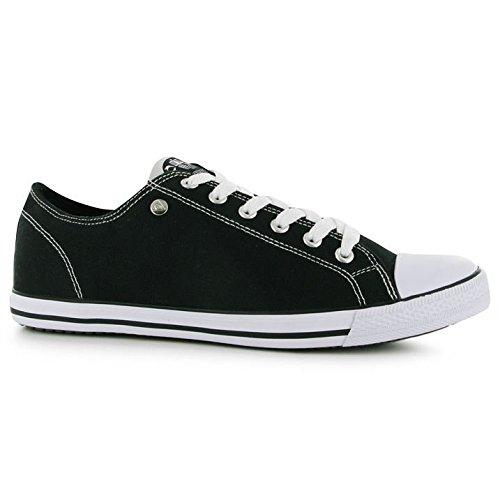 Dunlop pour homme toile Lo Profil Pompes à lacets Décontractée Chaussures léger Noir - noir