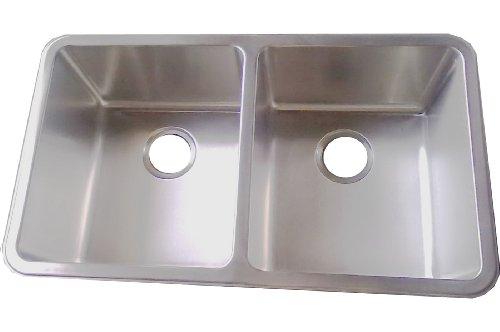 Doppelte Küchenspüle D01, für Unterbau, Edelstahl gebürstet