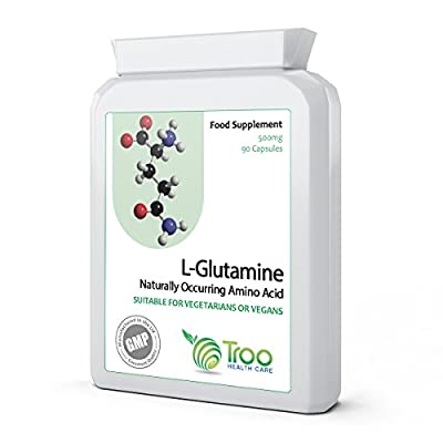 L-Glutamine 500mg 90 Capsules - High Strength Targeted Release Amino Acid Supplement - UK Manufactured GMP Consistent Quality