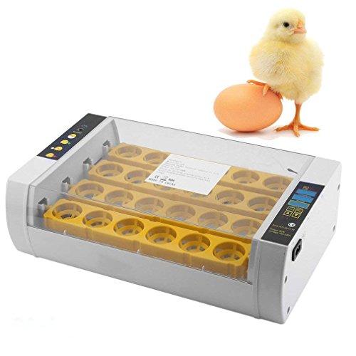 Poncherish Brutmaschine Vollautomatisch 24 Eier Brutautomat Inkubator mit Temperaturkontrolle und Automatische Eier Drehen für hühner Enten Gänse Geflügel Taube Wachtel
