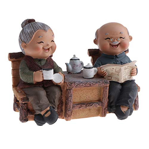 Homyl Resin Craft Elderly Couple Figurines Loving Old Age Life Creative Decor Gifts for Balcony/Desktop/Bookrack - Read Newspaper, as described