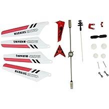 niceeshop(TM) Rueda Gear Set Alas Tail Atrezzo Balance Bar Piezas de Repuesto del Sistema Completo de Syma S107 RC Helicóptero (juego de 19, Rojo)