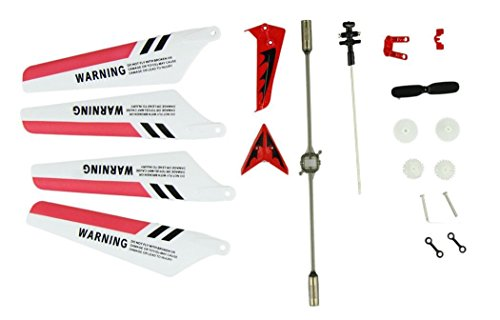 niceeshop (TM) Wheel Gear Set Wings Tail Props Balance Bar Spare Parts of the Complete System of Syma S107 RC Helicopter (set of 19, Red)