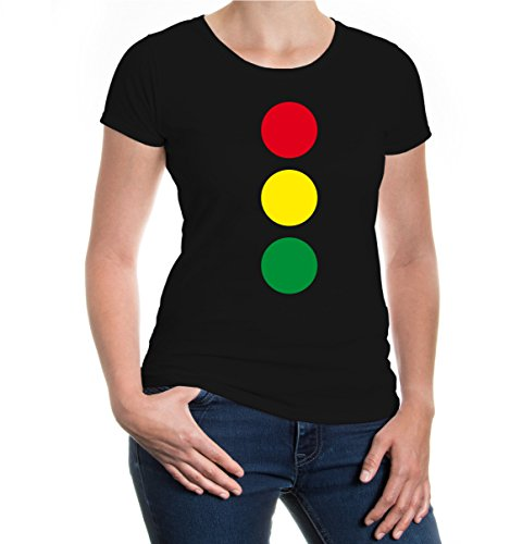 buXsbaum® Girlie T-Shirt Lichtsignalanlage Black-Green