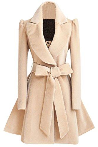 WanYang Damen Trenchcoat Wintermantel Parka Revers Lang Schlank Mantel Collegejacke Warme Winterjacke Outwear Elegant Herbst Winter
