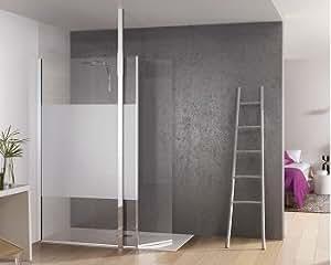 Paroi de douche fixe avec bande centrale dépolie + volet pivotant Kinespace Duo avec Mât 70+45