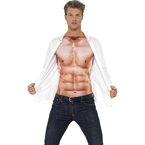 Sportler Kostüm Männer - Amakando Adonis Körper Sixpack Muskelshirt Herren M 48/50 Sportler Muskelkostüm Muskel Kostüm Faschingskostüm Männer Shirt Durchtrainierter Oberkörper Muskelattrappe Oberteil
