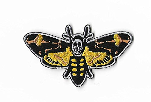 Death 's Head Moth Patch (9 cm) Schweigen der Lämmer bestickt Eisen/Nähen auf Badge Aufnäher Horror Film Souvenir DIY Kostüm (Death Head Patch)