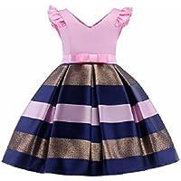 FXFAN Vestidos para Niñas Vestidos de Fiesta de Boda Formal Vestidos de Princesa ZHANGM (Azul, Rojo, Rosa) ZHANGM (Color : Rosado, Tamaño : 110)