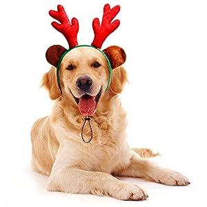 Toozey Bandeau de Noël Pour Chien, Costume de Chien Léger et Souple Pour Noël, Bois de Renne de Noël Avec Oreilles Pour Chiens, Bandeau de Bois de Renne Ajustable