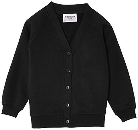 Trutex Unisex Sweat Cardigan, Black, 5-6 Years (Manufacturer Size: 22-23