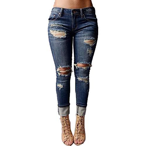 Trisee Damen Jeans Waschbar zerrissen Denim Hosen Hohe Taille Bleistifthose Skinny Freizeithose Täglichen Röhrenjeans Große Größen Pants Trousers Hosenanzug