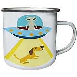 Abducción de perros UFO Retro, lata, taza del esmalte 10oz/280ml w400e