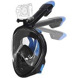 Unigear Masque de Plongée, Masque Snorkeling Plein Visage 180° Visible, Antibuée Anti-Fuite sous-Marine, Snorkel Masque avec Le Support pour Caméra de Sport, Adapté pour Adulte et Enfant (Noir, L/XL)