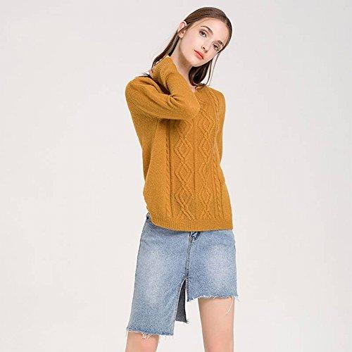 Good dress Frauen Pullover Geflochtene Grundlegende Lose Jacke Reine Farbe Primer Shirt , Gelb , Einheitsgröße