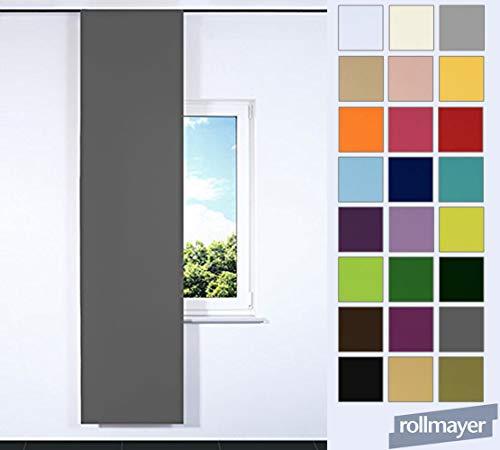 Rollmayer einfarbig Schiebevorhang für Flächenvorhangschiene/Schienensysteme 60 x 245 cm (Grafit 33, IKEA System), Flächenvorhang Schiebepanel Schiebegardine Vorhang Raumteiler