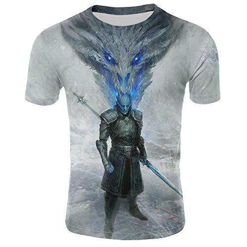 T-Shirts,Spiel Der Rechte T-Shirt Drachenkönig Mann Zepter Muster Tops Cosplay Unisex Tv Tees T-Shirt Weiß Kid2