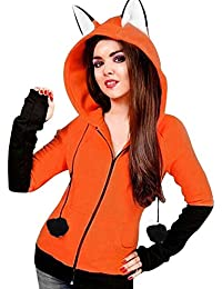 VJGOAL Mujeres Otoño E Invierno Moda Casual Color sólido Lindo Zorro Orejas con Capucha Engrosado suéter de Lana Sudaderas Abrigo de Manga Larga Chaqueta con Capucha