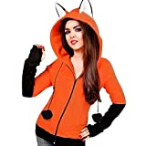 Diadia Damen Kapuzenpullover Hoodie Sweatshirt Mit Kapuze Langarm Rundhals Pullover outwear Cute Cat Ears Hooded Oberseiten Casual Winter Herbst warm Streetwear Tops (M, Orange)