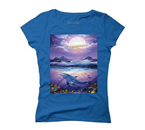 Heavenly Ocean Women's Graphic T-Shirt - Design By Humans Royal Blue
