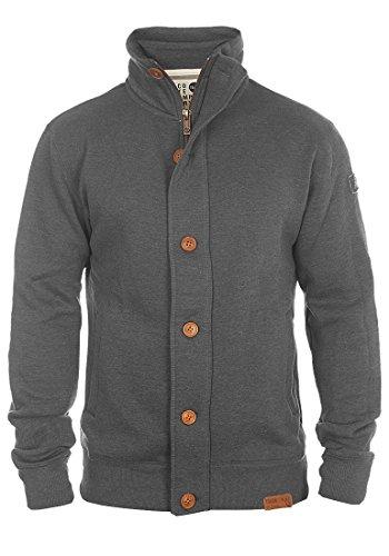 !Solid Tripjacket Herren Sweatjacke Cardigan Ohne Kapuze mit Knopfleiste Stehkragen und Fleece-Innenseite, Größe:L, Farbe:Grey Melange (8236)
