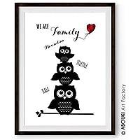 """ABOUKI personalisierter Kunstdruck - ungerahmt -""""We are Familiy"""" mit EULE, Geschenkidee für die ganze Familie"""