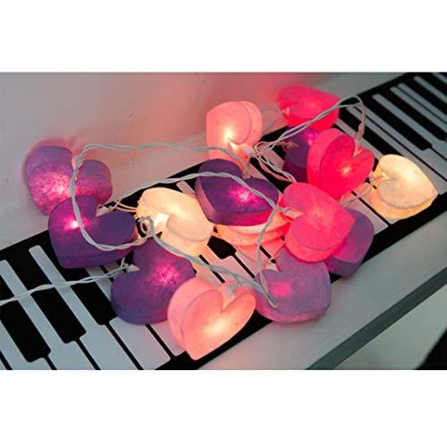 LED Lichterkette Batteriebetrieb, Frashing Herzform Laterne Schlafzimmer Licht Romantische Atmosphäre Lichter Warme Farbe Garten Hängelampe Wiesnzelt Garnitur Außenbeleuchtung (3 m-20 Lampe)