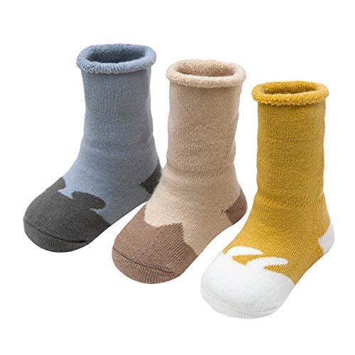 ANIMQUE ANIMQUE Baby Winter Socken Dicke Cartoon Tiere 0-6 Monate Neugeborene Kleinkind Jungen Mädchen Baumwolle Söckchen Warm 3er Pack (DW-B)