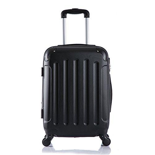 WOLTU RK4204sz-M-a Reisekoffer Koffer Trolley Hartschale mit erweiterbaren Volumen , 4 Rollen leicht Hartschale mit erweiterbaren Volumennkoffer Handgepäck , Schwarz M (56 cm & 42 Liter)
