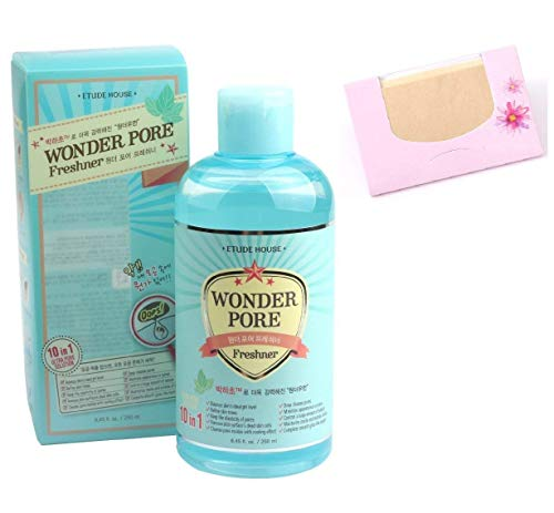 Etude House Wonder Pore Freshner 16.9 Oz/500Ml + SoltreeBundle Natural Hemp Paper 50pcs