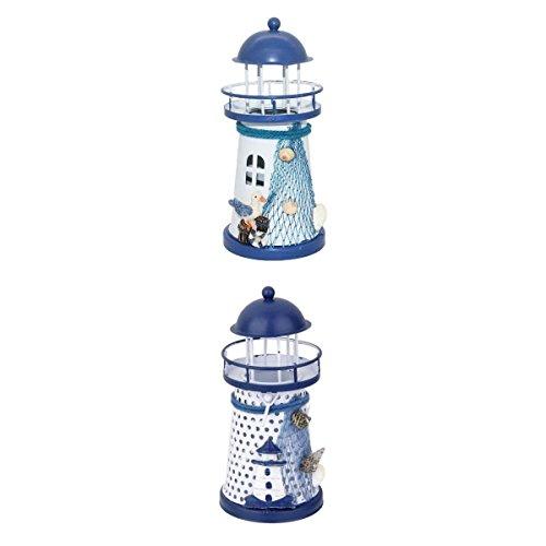 perfk 2pcs Mittelmeer-Stil Leuchtturm LED Licht Nachttischlampe Nachtlampe batteriebetriebene Dekoleuchte Haus Tischdekoration