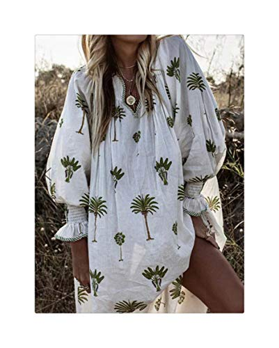 New Women Long Lantern Sleeve Boho Print Party Casual Kaftan Mini Loose Dress V Neck Casual Spring Holiday Girls Ladies Clothes White L