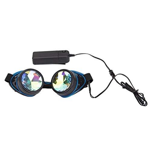Spikes Vintage Brille Steampunk Kaleidoskop Goggles Glow Tube Sonnenbrillen Cosplay Festivals Rave Diffraction Kristalllinsen Brillen mit Fernbedienung