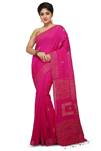 Wooden Tant Pink Box Ghicha Handloom Cotton Silk Saree With Hand Weaved...