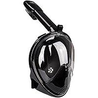 Elite O&S, maschera da snorkeling panoramica a 180°, con sistema di respirazione Easybreath, anti appannamento, anti infiltrazioni, a lenti stondate, per adulti e bambini, Black, L/XL