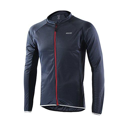 Extrem sichtbares Arsuexo-Herren-Fahrrad-Jersey - Lang-Ärmel-Slim-Fit-Fahrrad/MTB-Shirt - 6022 Small grau -