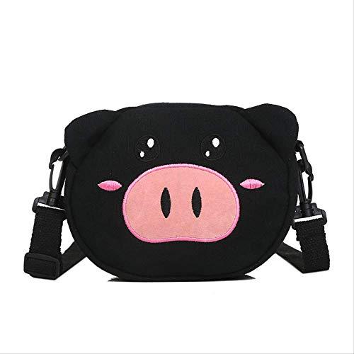 Kinder Tasche Mädchen, Schwein Schwein Canvas Tasche Süße Schwein Kleine Tasche Kleine Tasche Cartoon Lässige Schultertasche, Billige Rucksäcke Für Kinder schwarz -