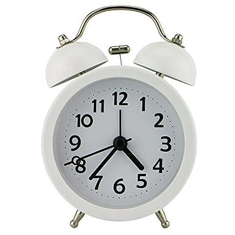 PiLife Mini Doppelglockenwecker , Klassik Wecker Clock mit Nacht Licht, lauter Alarm, kein Ticken, geräuschlos, batteriebetrieben, 3 Zoll(weiß)