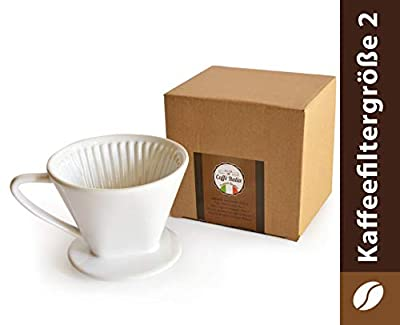 Caffé Italia Permanent Coffee Filter - Excellent Flavoured Coffee Flavour - Hand Filter Ceramic Coffee Filter Attachment - Size 2 for 2-3 Cups - White - Premium Quality