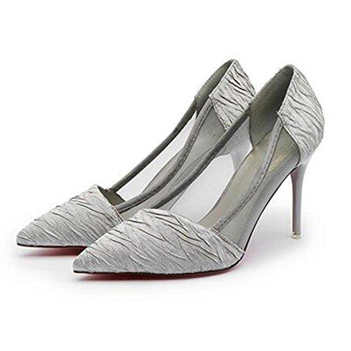 W&LM Signorina Tacchi alti Superficie della maglia traspirante Tacchi alti Ok sandali Leggero sandali Grey