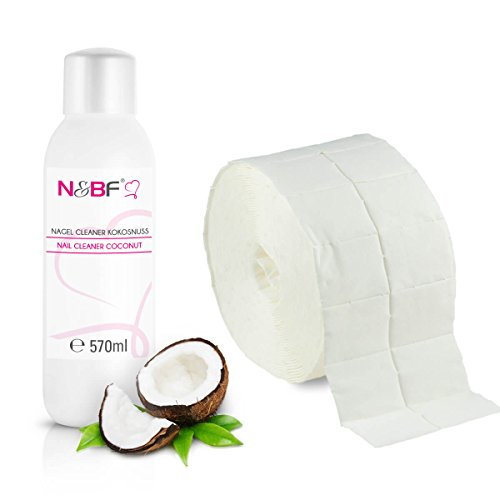 Acryl 1000 Set Nail (N&BF Nagel Cleaner Set mit Duft 570ml + 1000 Zelletten Cellulose Pads (2 Rollen à 500 Stück) - 70% Isopropanol-Alkohol – für Gelnägel – Nagelreiniger – kosmetisch rein in Studioqualität (Kokusnuss))