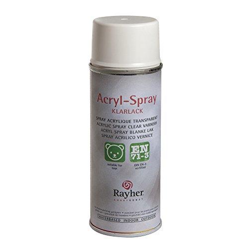 RAYHER HOBBY 34145102 Acryl-Spray, Acryllack, seidenmatt, Sprühlack für innen und außen, hohe Deckkraft, umweltbewusst spraylackieren, Dose 200 ml, weiß