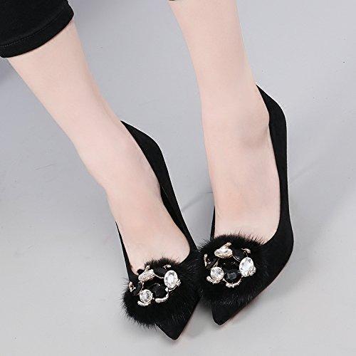 kphy di autunno e inverno peluche Satin singolo scarpe Suggerimento Video sottile Fein con acqua foratura nella luce del High Heel scarpe da donna 9cm Black