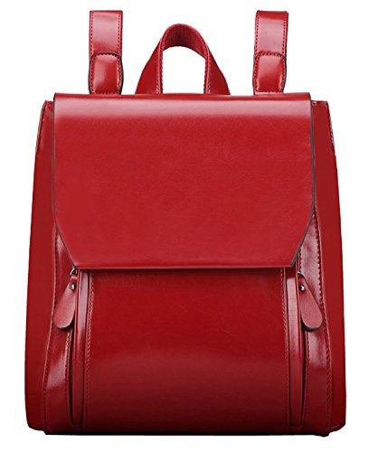 Tibes Rucksäcke Damen Wasserdichter Rucksack Rucksackhandtaschen Schulranzen Schultaschen mädchen Tasche Daypacks, Medium, A Rot Rote Wasserdichte Leder