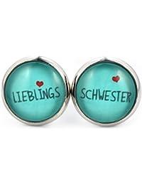 SCHMUCKZUCKER Damen Ohrstecker Lieblings-Schwester Modeschmuck silber-farben türkis 14mm