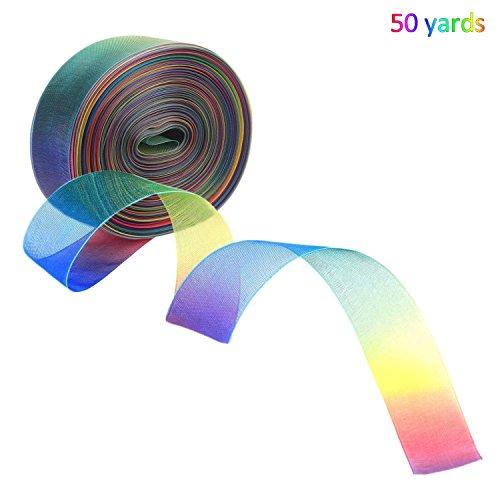 45,7m 2,5cm rainbow shimmer ribbon–jamhoodirect shimmer organza nastri decorativi bundle arcobaleno nastro per bomboniere/craft/gift wrap/natale