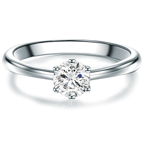 litärring Sterling Silber Zirkonia weiß im Brillantschliff - Verlobungsring Vorsteckring Trauring Silberring mit Stein ()