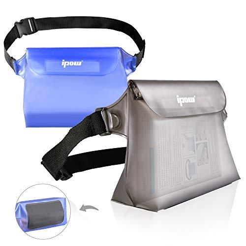 ipow 2-Stück wasserdichte Tasche Beutel Hülle 3D Form Bauchtasche Schultertasche, vollkommen schützt iPhone, Handy, Kamera, Kosmetika, Wertsachen vor Wasser/Regen/Schnee/Staub.