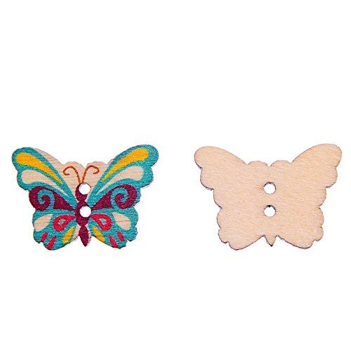 �ck Holz Knöpfe Colorful Butterfly gemischt Farbe Nähen DIY Craft Geldbörse Baby Kleidung Dekoration Nähen Knopf ()