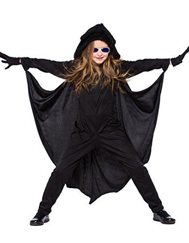 FStory&Winyee Mädchen Fledermaus Kostüm für Halloween Fest Fasching Cosplay Kleider Rollenspiel Kinder Jumpsuit Schwarz Mädchen Karneval Party Verkleidung